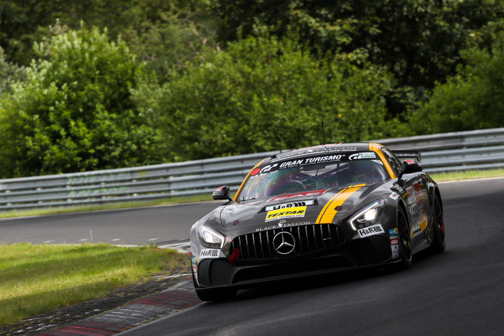 Stephan Rösler Maik Rosenberg Tristan Viidas Black Falcon Team Textar Mercedes AMG GT4 Nürburgring Langstrecken-Serie Nürburgring-Nordschleife
