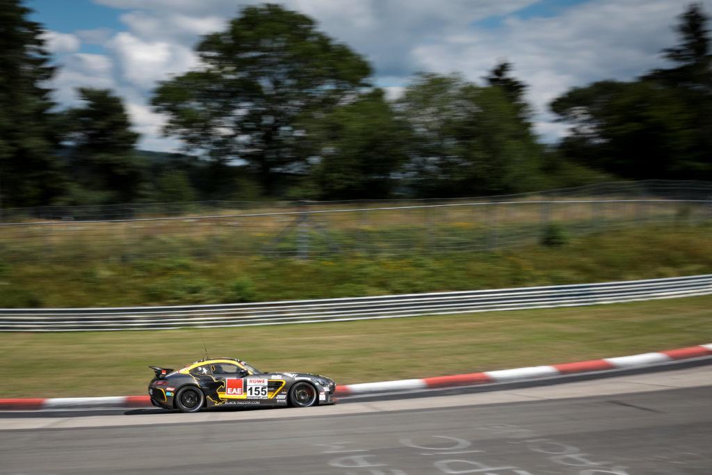 Stephan Rösler Marco Müller Tristan Viidas Black Falcon Team Textar Mercedes AMG GT4 Nürburgring Langstrecken-Serie Nürburgring-Nordschleife