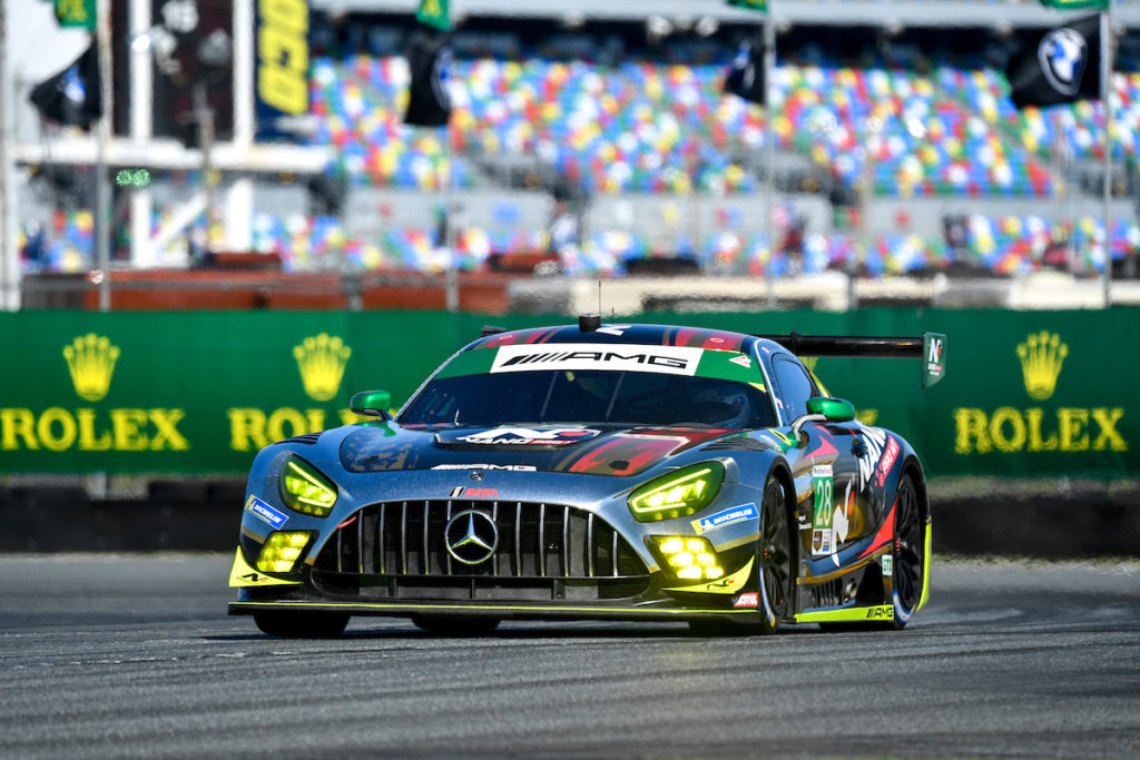 Billy Johnson Maximilian Buhk Michael de Quesada Daniel Morad Alegra Motorsports Mercedes-AMG GT3 IMSA WeatherTech SportsCar Championship ROAR Daytona