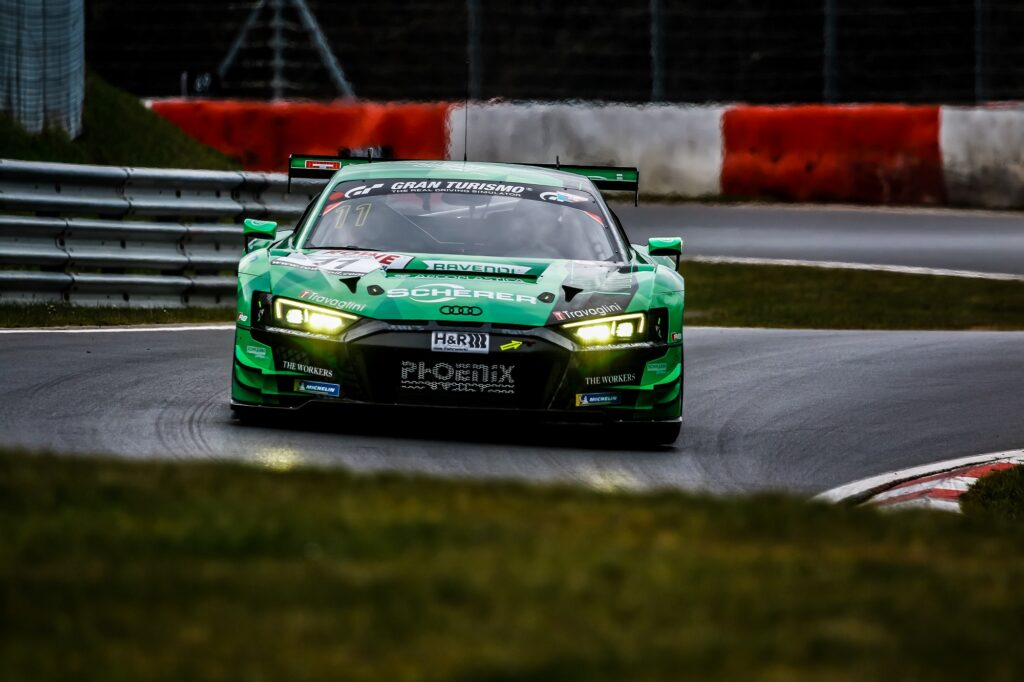 Michele Beretta Nicki Thiim Phoenix Racing Audi R8 LMS GT3 Nürburgring Langstrecken-Serie Nürburgring-Nordschleife