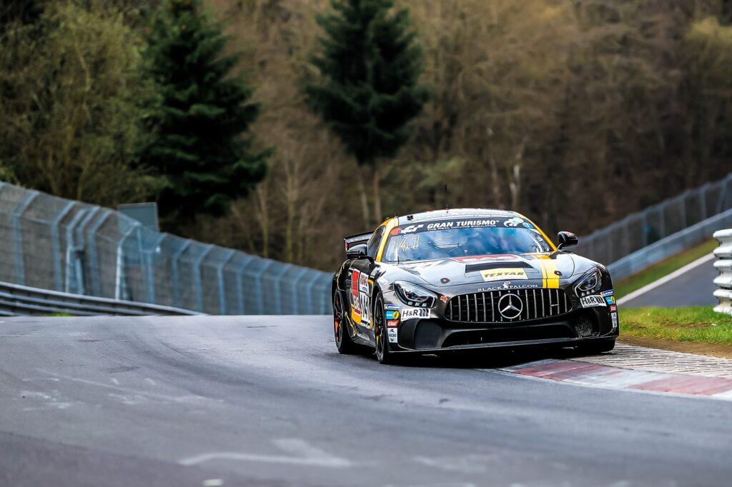 Marco Müller Stephan Rösler Ersin Yücesan Black Falcon Mercedes-AMG GT4 Nürburgring Langstrecken-Serie Nürburgring-Nordschleife
