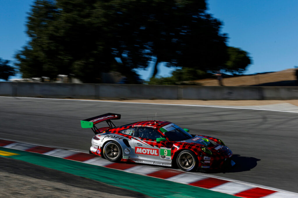 Zach Robichon Laurens Vanthoor Pfaff Motorsport Porsche 911 GT3 R IMSA WeatherTech Sportscar Championship Laguna Seca